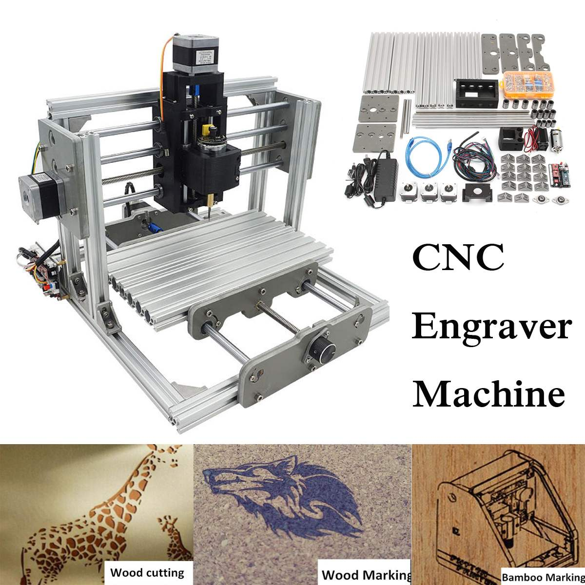 2500MW DC 12V 3 Axis Mini DIY Desktop CNC Laser Engraver Engraving Machine Milling Carving Cutter Wood Router 0.04MM+ T8 Screws eur free tax cnc 6040z frame of engraving and milling machine for diy cnc router
