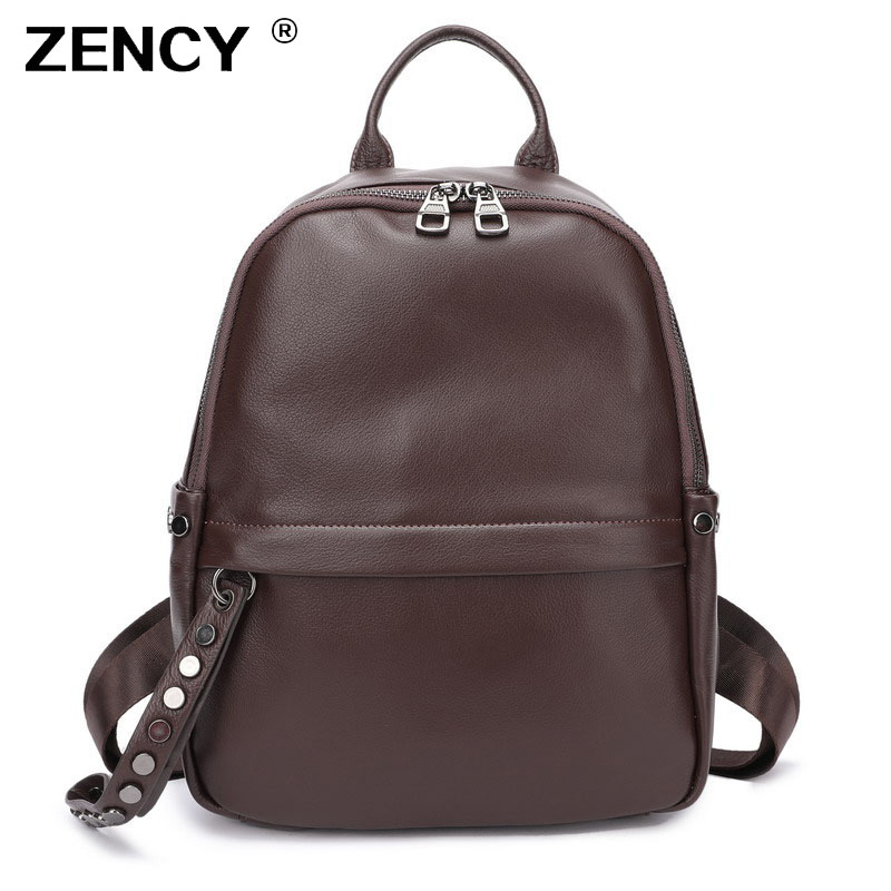 ZENCY 100 Soft Natural Italian Genuine Leather Full Grain Leather 2019 Women Backpack Ladies Coffee Cowhide