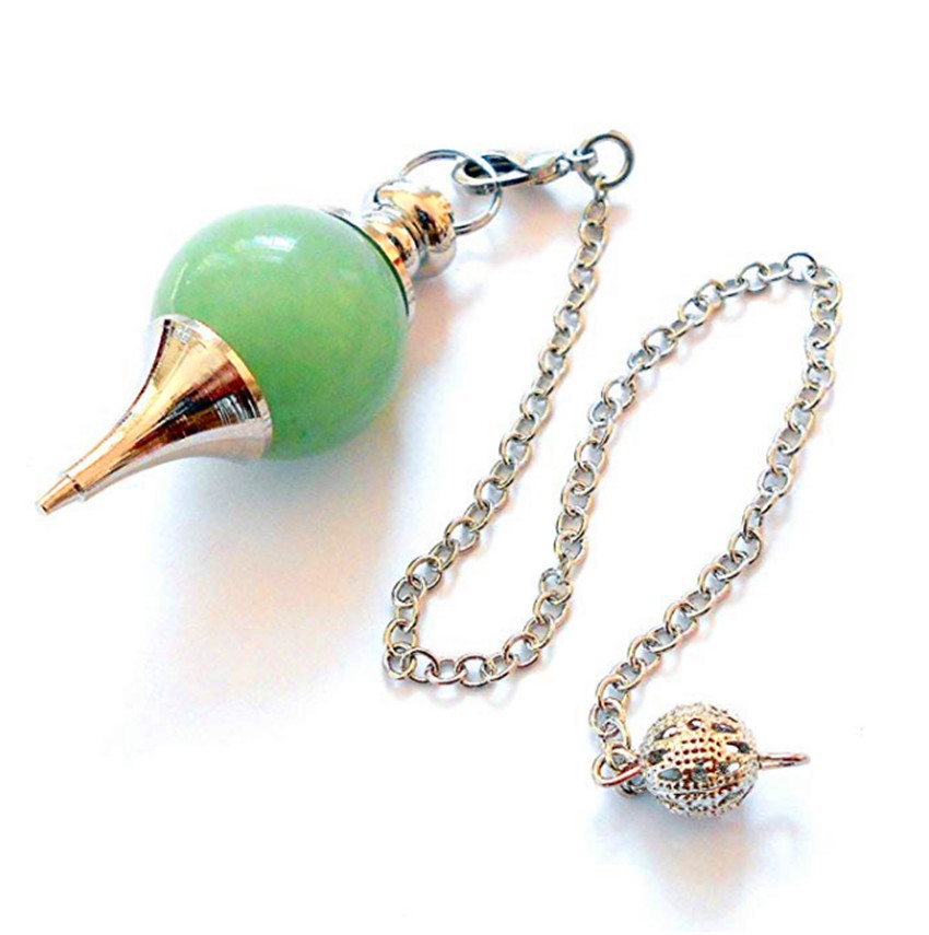 FYJS Unique Silver Plated Metal Chain Pendulum for Dowsing Pendant Round Green Aventurine Jewelry in Pendants from Jewelry Accessories