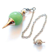 FYJS Unique Silver Plated Metal Chain Pendulum for Dowsing Pendant Round Green Aventurine Jewelry