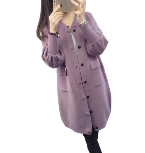 New Fashion Wool Women Long Sweater Cardigans Solid Vneck Pocket Poncho Jumpers High Quality Korean Cardigan Feminino Sueter 906