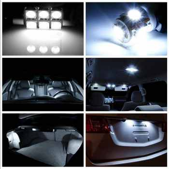 For Land Rover Freelander Evoque Car Led Headlight Bulbs Replacement Bulb Dome Map Lamp Light Bright White T10 36mm 42mm 12PCS