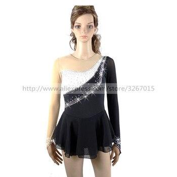 61f6c434b Vestido de patinaje artístico para mujeres vestido de patinaje sobre hielo  vestidos de competición color blanco y negro cuello redondo de manga larga