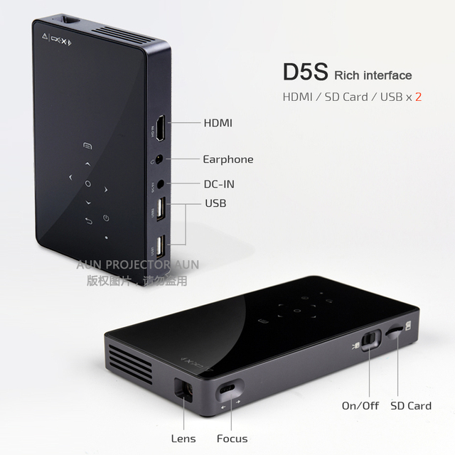 Durable AUN Android 7.1 DLP Projector D5S, Built-in WIFI, Bluetooth, 4,500mAH Battery