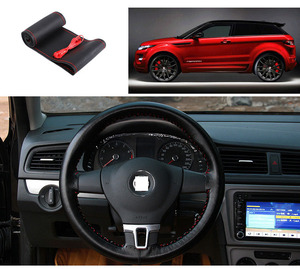Image 5 - 37cm/38CM DIY Steering Wheel Covers soft Leather braid on the steering wheel of Car With Needle and Thread Interior accessories