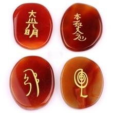 Conjunto de 4 pedras naturais várias com os quatro simbolos do Reiki tradicional