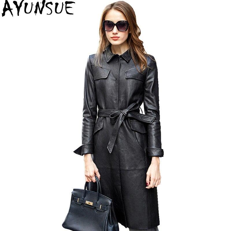 AYUNSUE 2018 Genuine Leather Jacket Long Slim Trench Coat Female Autumn Real Sheepskin Coat Womens Winderbreaker Outwear WYQ850