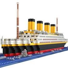 """Модель """"Титаник корабль"""", строительные блоки, кирпичи, игрушки с 1860 шт., Мини Титан, 3D набор, сделай сам, лодка, обучающая коллекция для детей, мальчиков"""