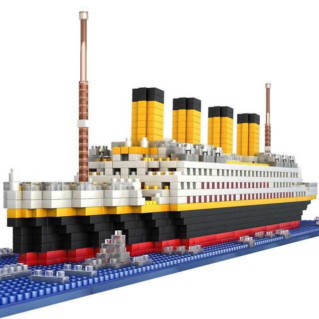 タイタニック船モデルビルディングブロックレンガのおもちゃ 1860 個ミニタイタン 3D キット Diy ボート教育コレクション子供のための男の子