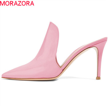 MORAZORA 2019 big size 45 pumps women shoes pointed toe thin high heels shoes summer muels shoes woman party wedding shoes