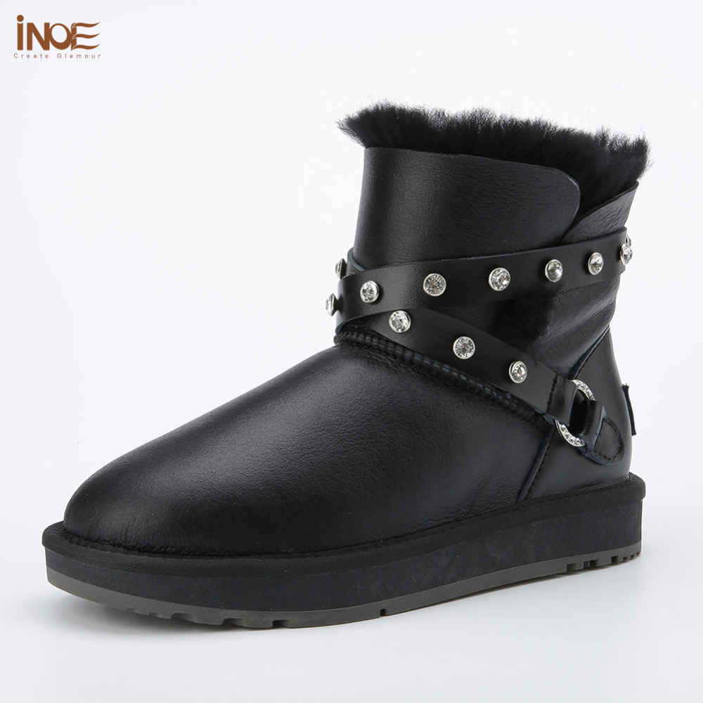 fashion sheepskin leather women ankle winter snow boots for womans buckle natural fur lined short winter shoes waterproof inoe 2018 new genuine sheepskin leather sheep fur lined short ankle suede women winter snow boots for woman lace up winter shoes