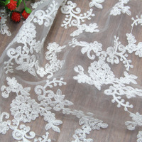 New Highquanlity Patchwork Fabric Mesh French Tulle Fabric In Lace White French Lace Fabric For Wedding