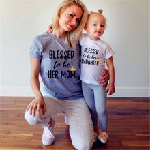 Eafreloy Family Shirt Letter Printing Mom Kid Baby T-Shirt Tops Romper Outfits Matching Clothes New Family Matching Outfits L98