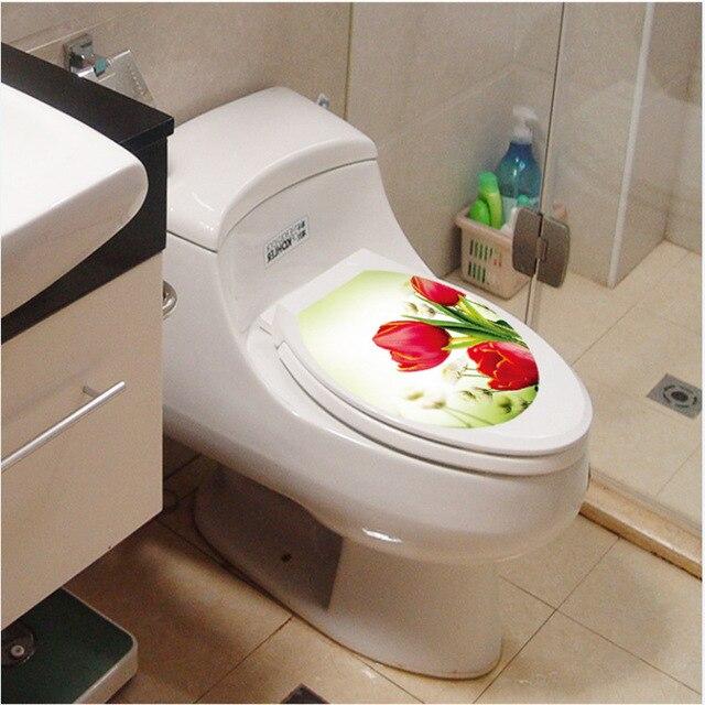 Tulp bloem decoratie muur kunst waterdichte wc sticker badkamer ...