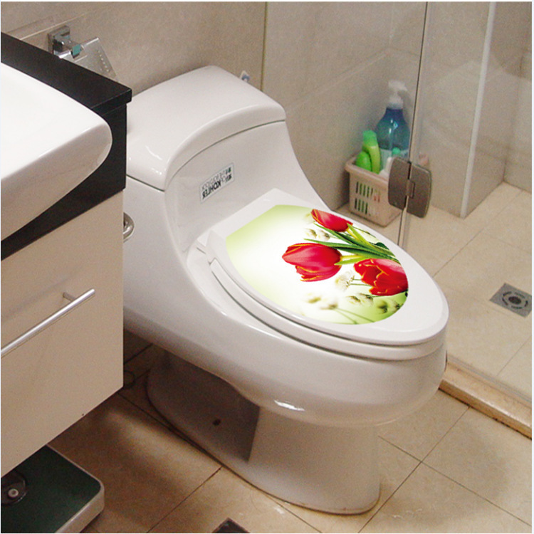Tulip flower home decoration wall art waterproof toilet for Decoration wc