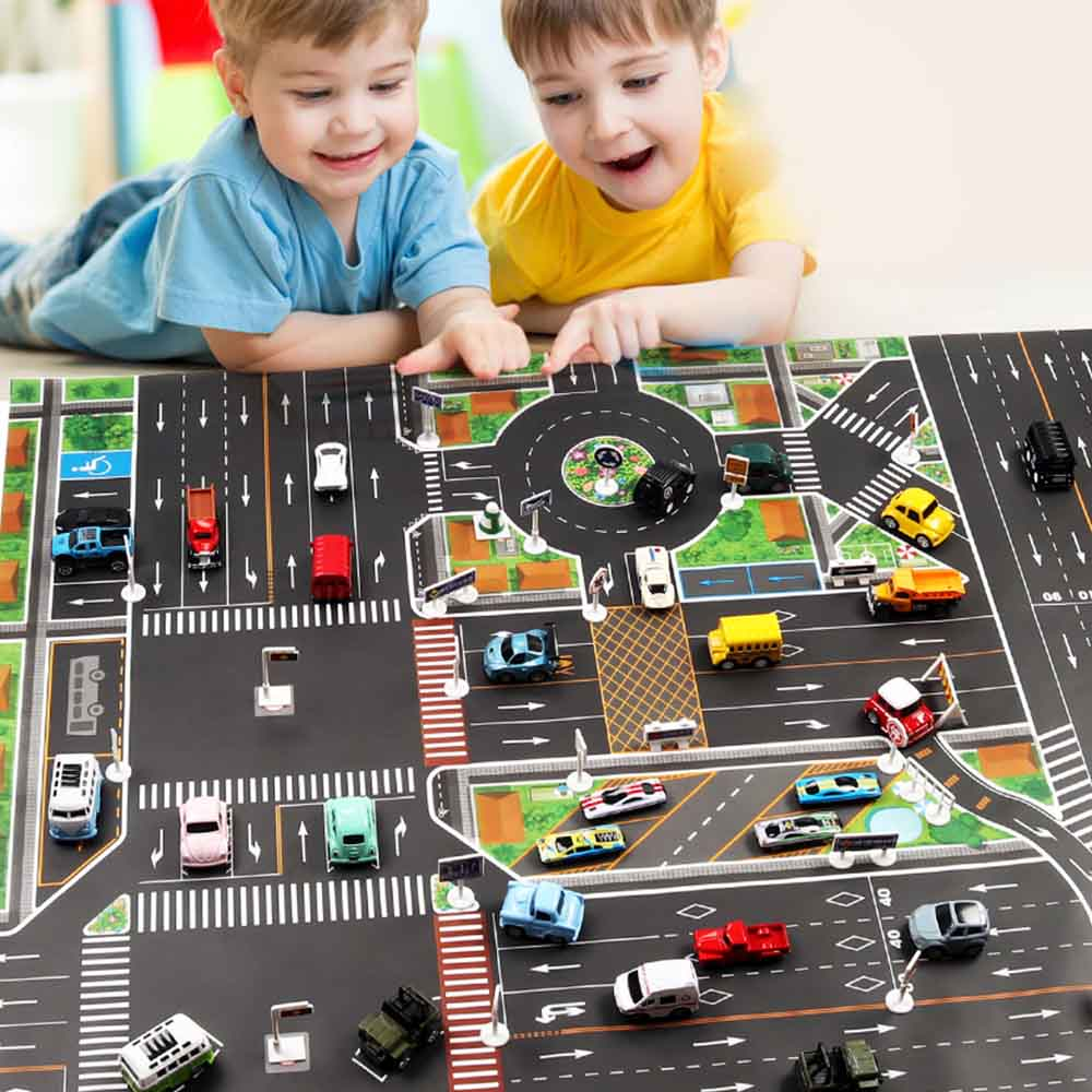 Teaching Edition Adult Children Learning Urban Traffic Rules Pure Route Parking Map Game Pad English Teaching Edition Road Sign