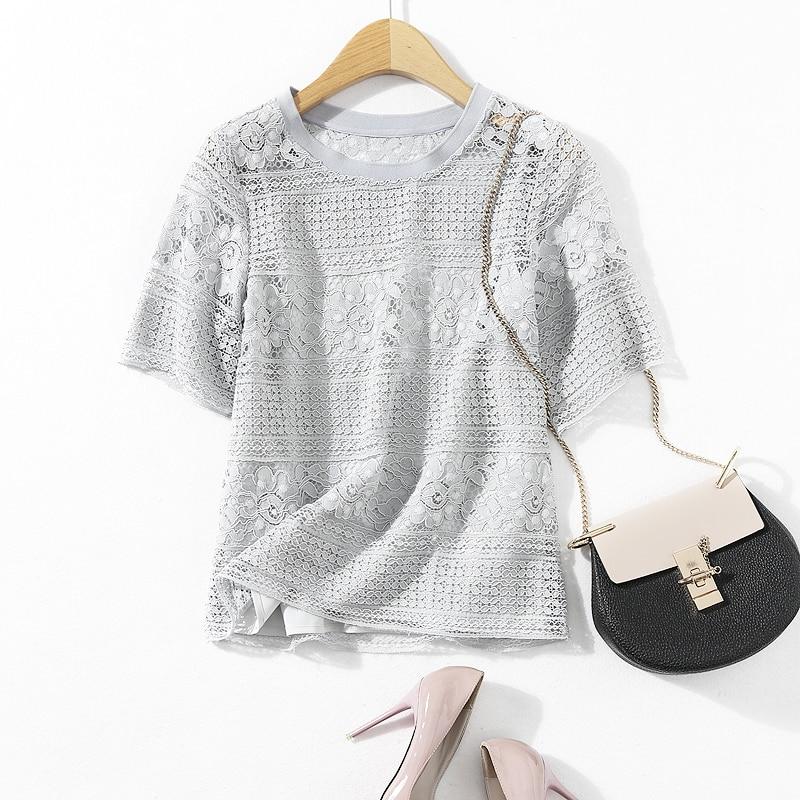 La Nouvelle Mode 2017 Col Rond T-shirt avec Manches Courtes En Dentelle Crochet Évider un T-shirt