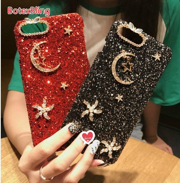BotexBling Luxus Crown niedlich Weihnachten hirsch schneeflocke glitter fall für iphone X fall 8 8 plus 7 7 plus 6 6 s plus 6 plus hard abdeckung