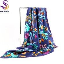 Brand Navy Blue Silk Scarf For Ladies 2016 Autumn Winter Squ