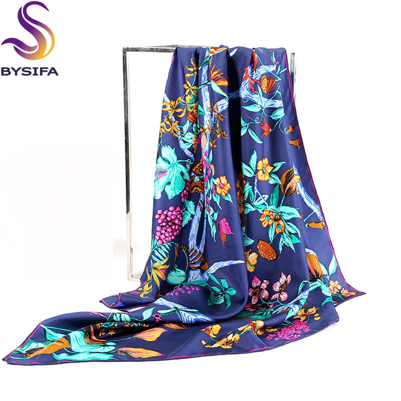 Brand Navy Blue <font><b>Silk</b></font> <font><b>Scarf</b></font> For Ladies 2016 Autumn Winter Square <font><b>Scarves</b></font> Wraps New Design Plants Flowers <font><b>Scarf</b></font> Shawl <font><b>90</b></font><font><b>*</b></font>90cm image