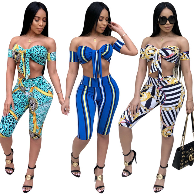 two piece set summer women 2 piece set Printing Crop top and pants sexy  woman matching sets women s shorts knees Length CM217 c1213ee640