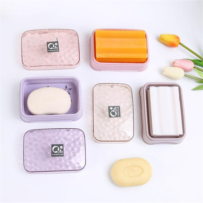 Waterproof Soap Container Bathroom Transparent Cover Plastic Soap Box Holder W