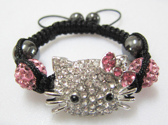 Christmas Gifts! 3Pcs/Lot Charms Hello Kitty Shamballa Bracelets Bangles Brand Braided Crystal Beads Children Kids Bracelets