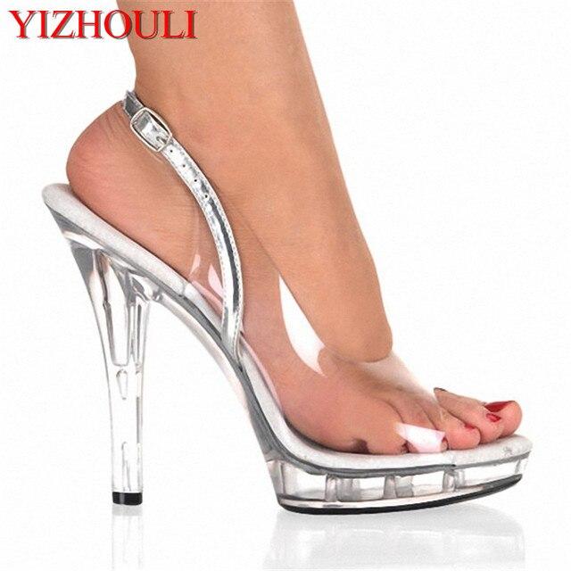 ab0f572baeb Elegant Full Clear 13cm Super High Heel Shoes Platform Sandals