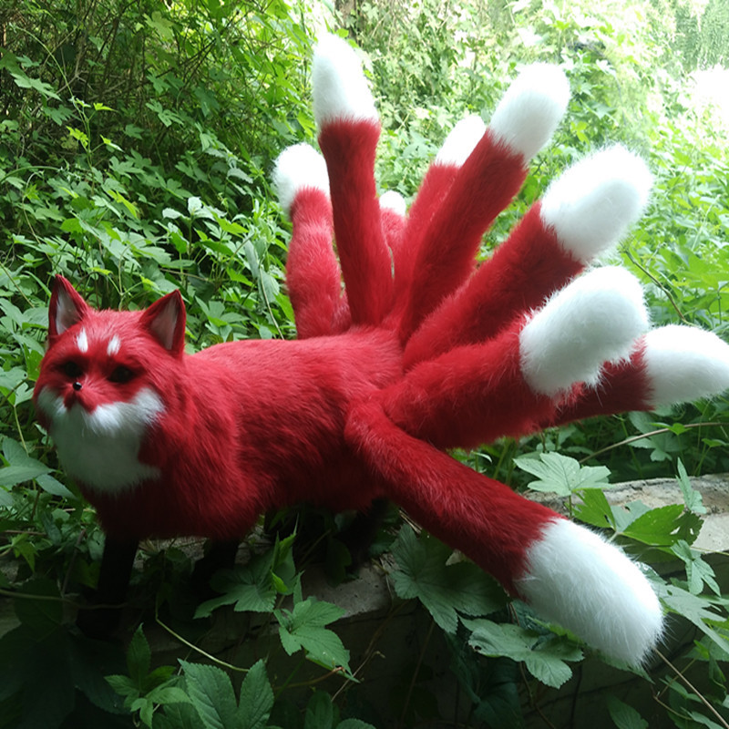 new simulation red Fox toy handicraft lifelike nine-tails firefox doll gift about 35x23cm simulation animal large 28x26cm brown fox model lifelike squatting fox decoration gift t479