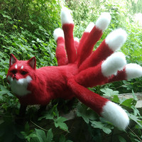new simulation red Fox toy handicraft lifelike nine tails firefox doll gift about 35x23cm