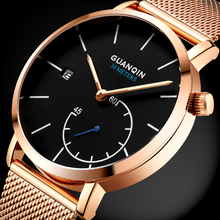 цена на GUANQIN Brand Watches Men Luxury Mesh Strap Quartz Watch Men's Fashion Stainless Steel Waterproof Wristwatch relogio masculino