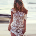 FANALA Women Summer Dress Sexy Short Sleeve Low Back Crochet Floral Lace Beach Dresses Cover Hollow Mini Dress Plus Size