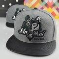 2016 Outono Inverno New Fashion Lã Aba de Couro Da Cabeça do Lobo Bordados Cap Hip Hop Baseball Caps Chapéus Osso Para Homens Mulheres Snapback
