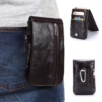 2018 New High Quality Genuine Leather Fashion Casual Men S Leather Pockets Male Belt Hanging Bag