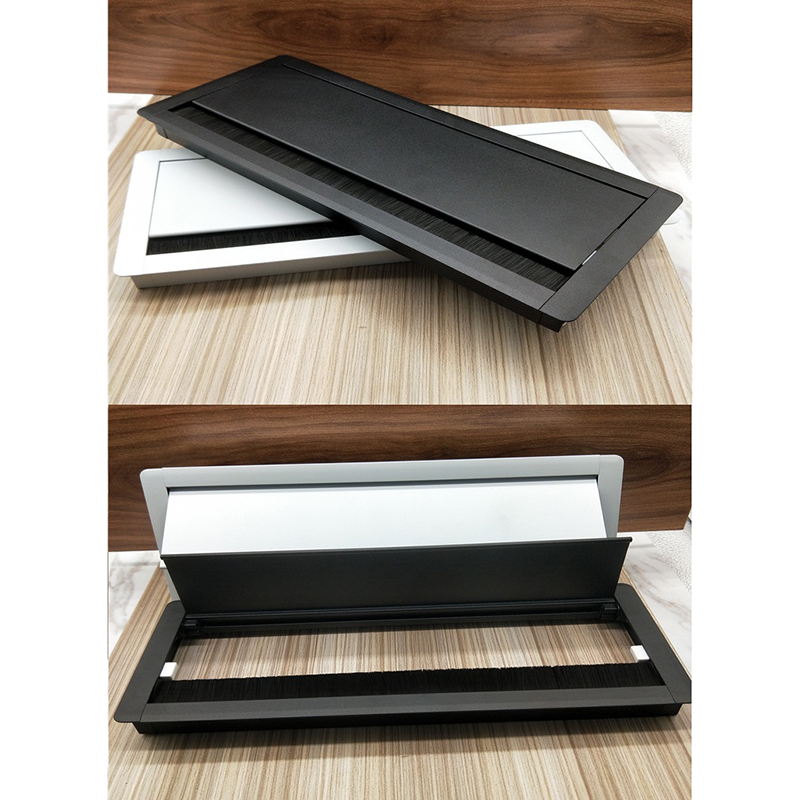 W127*H300mm Rectangle Aluminum Table TV Cabinet Desk Wire Cable Tap Grommet Soft Quiet Buffering Flap Cover Brush