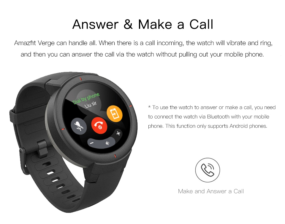 Features of Amazfit Verge Unisex Smartwatch