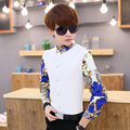HOT ! 2015 autumn new men printing Patchwork long-sleeve shirt slim male fashion shirt dress nightclub singer costumes