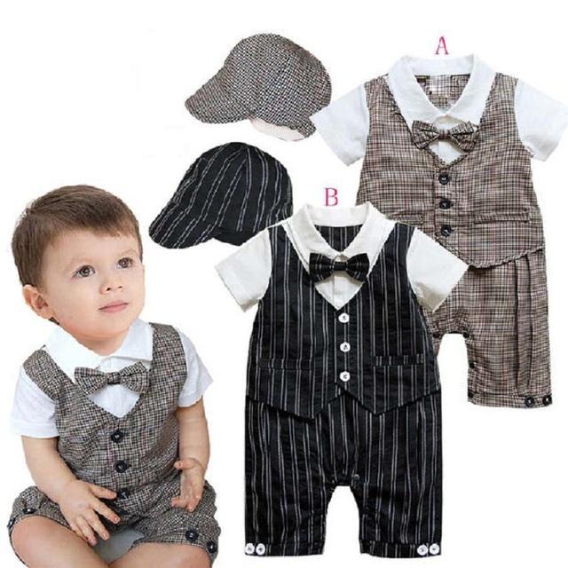 2017 bandas de color negro moda niños bebés ropa 0-2years del bebé mono de los mamelucos del smoking + sombrero chaleco de la ropa del bebé fiesta de disfraces dress