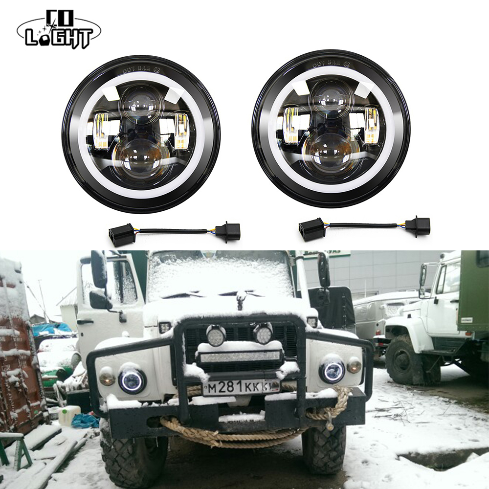 CO LIGHT 7 Inch Led Headlight H4 H13 Round Shape 7 Headlights with Yellow Amber Angel