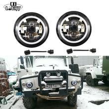 """CO LICHT 7 Zoll Led-scheinwerfer H4 H13 Runde Form 7 """"Scheinwerfer mit Gelb & Bernstein Engel Auge für Offroad Jeep Wrangler Lada 4×4"""