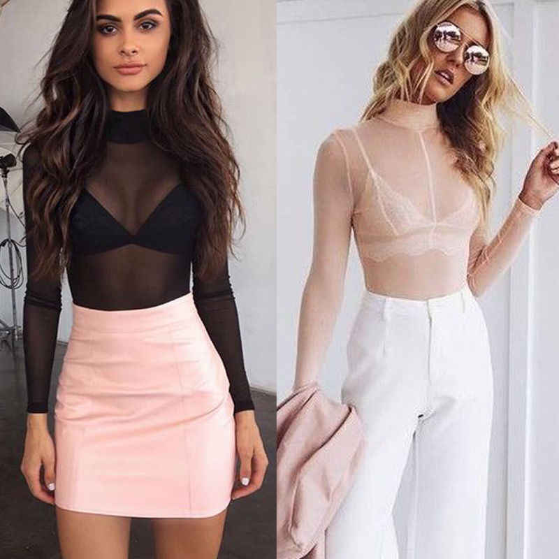 2018 Zomer Mode Vrouwen Blouse Sexy Vrouwen Netto Lange Mouwen See Through Pure Top Semi Transparante Blouse