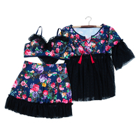 3 In 1 Set High Quality Floral Sexy Plus Size Bikini Swimwear With Lace Bordered Cover