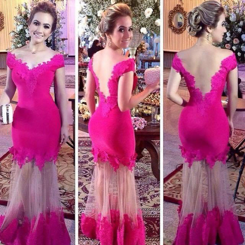 Elegant Cap Sleeve Mermaid Lace   Prom     Dress   2018 Sexy V Illusion Back Long Evening   Dresses   V Neck Rose Red Female Party Gown
