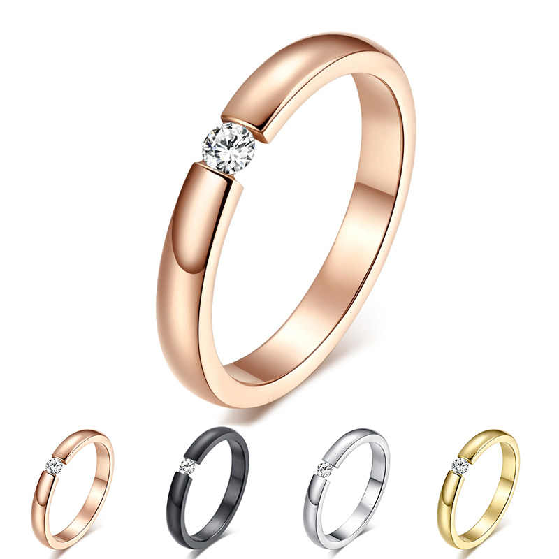 Engagement Ring for Women Stainless Steel Silver Gold Color Finger Girl Gift US Size 5 6 7 8 9 10