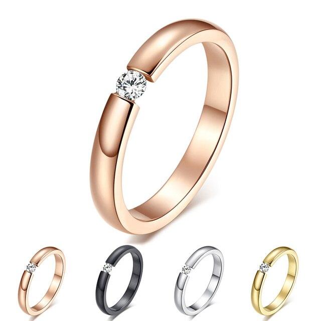 Anel de noivado para As Mulheres da Cor do Ouro de Prata de Aço Inoxidável Dedo Presente Da Menina EUA Tamanho 5 6 7 8 9 10