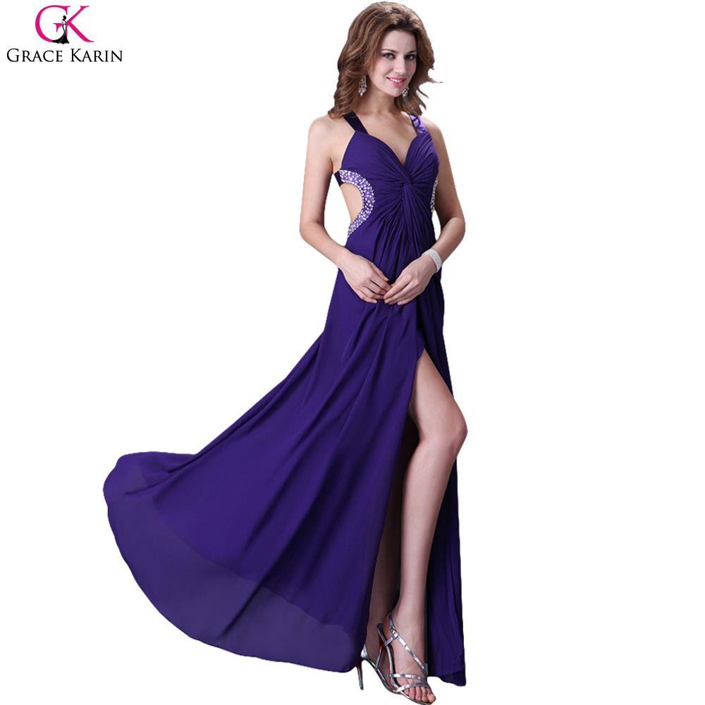 Grace Karin Sexy Backless High Split Oriental Long Evening Dresses ...