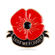 Red Poppy Flower Brooches Enamel Metal Alloy England Lest We Forget Brooch Pin For Women Men Remembrance Badges Brooch Jewelry alloy flower brooch