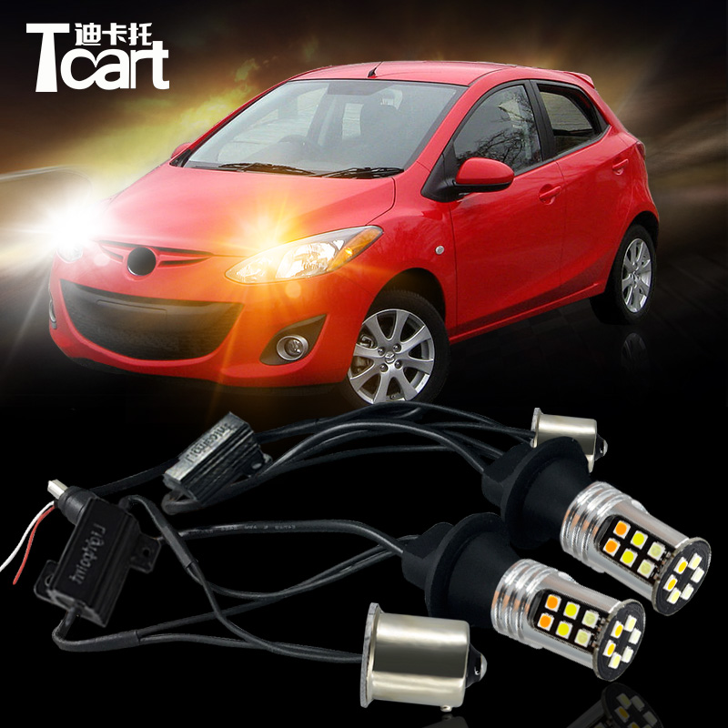 Tcart 2X Car LED DRL&Turn Signal Light for Mazda 2 accessories 2007-2014 auto LED Daytime running light car turnlight for Mazda2 газовая варочная панель korting hg 7105 ctrr