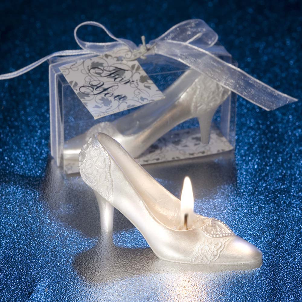 3D Wedding DIY Decoration Crystal Shoe Design Candle White High heels shoes Candles for DIY Holiday Wedding Party Decor Supplies