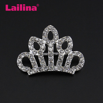100pcs/lot  Crystal Rhinestones silver plating Crown  Button  for decoration
